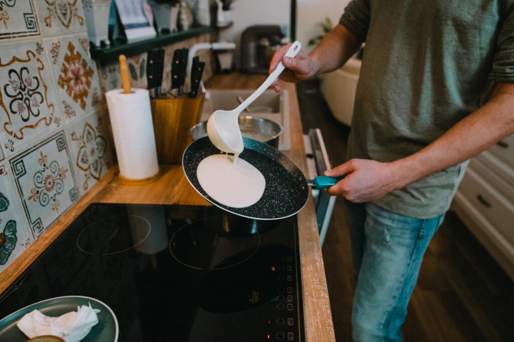 Tilt the pan to distribute batter evenly
