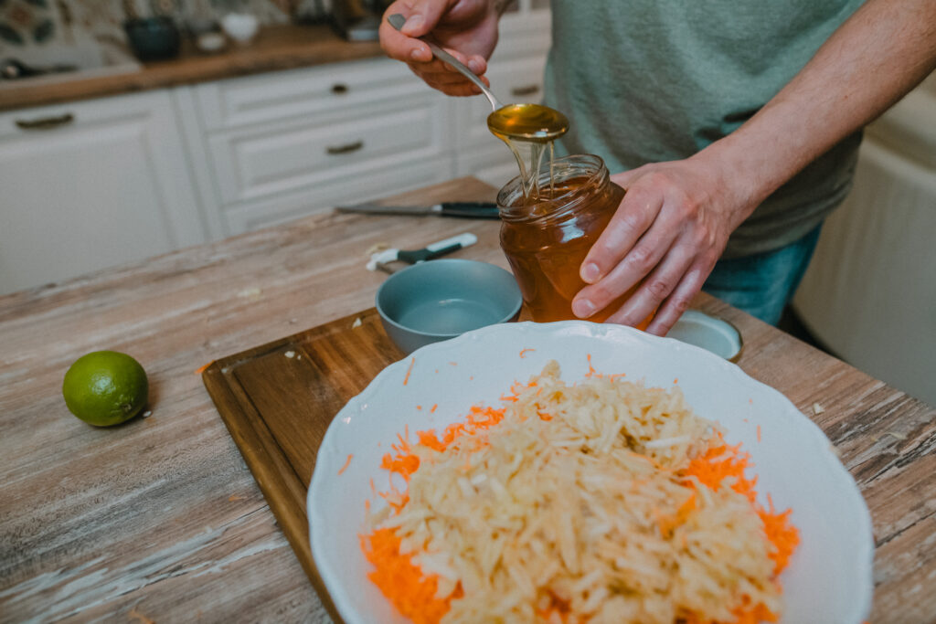 Two tablespoons of honey are needed to make the salad sweet.