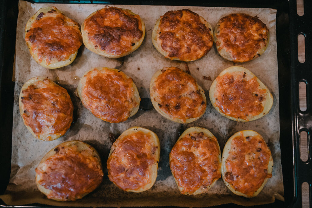 Baked and ready, these baked stuffed potatoes look amazing