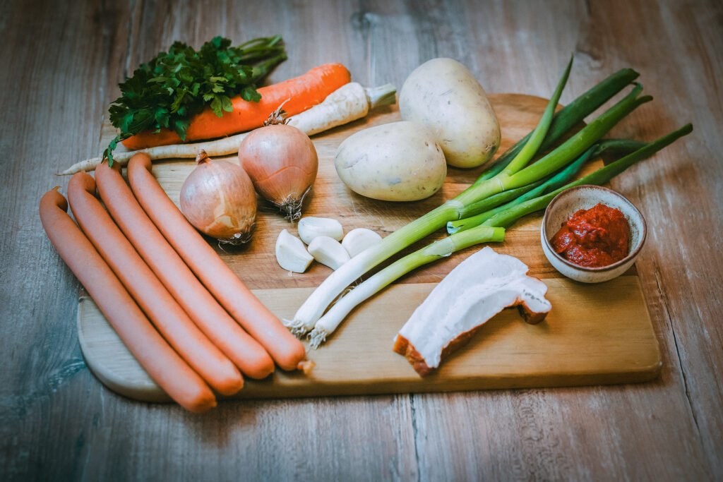 Ingredients for the Frankfurter soup