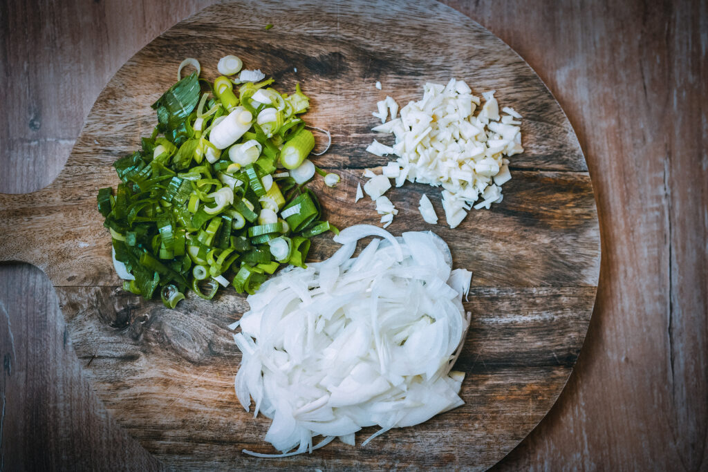 Chopped scalions, onions and garlic