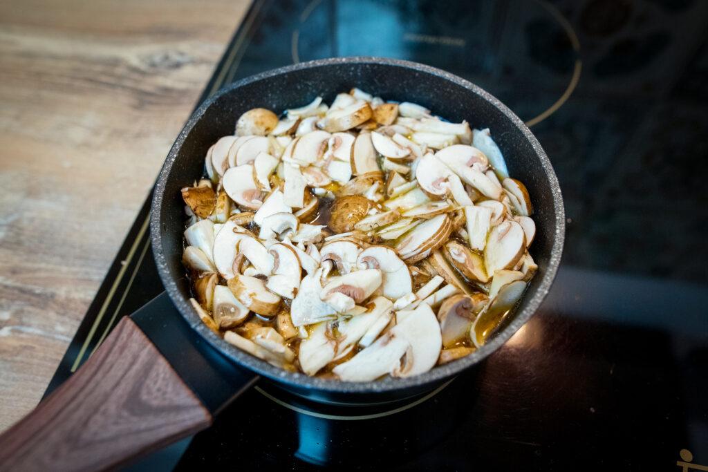 A pot full of mushrooms.