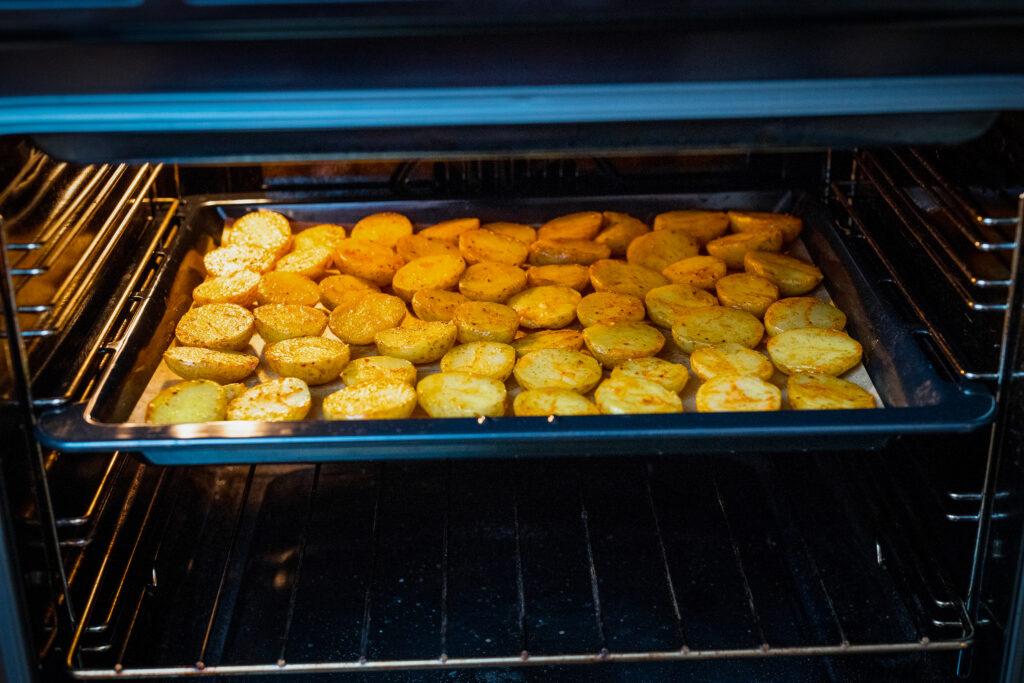 Bake the potato halves for 25-30 minutes.