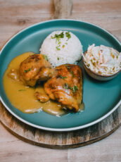 Easy To Make Baked Chicken Thighs With Onion Gravy