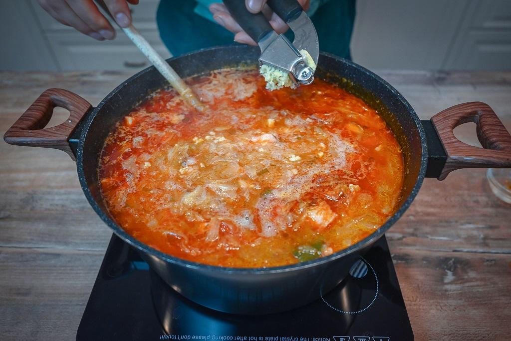 Our sauerkraut soup requires quite a bit of garlic.