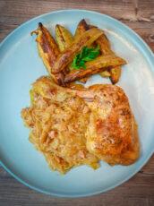 Best Baked Chicken Legs With Sauerkraut And Potato Wedges