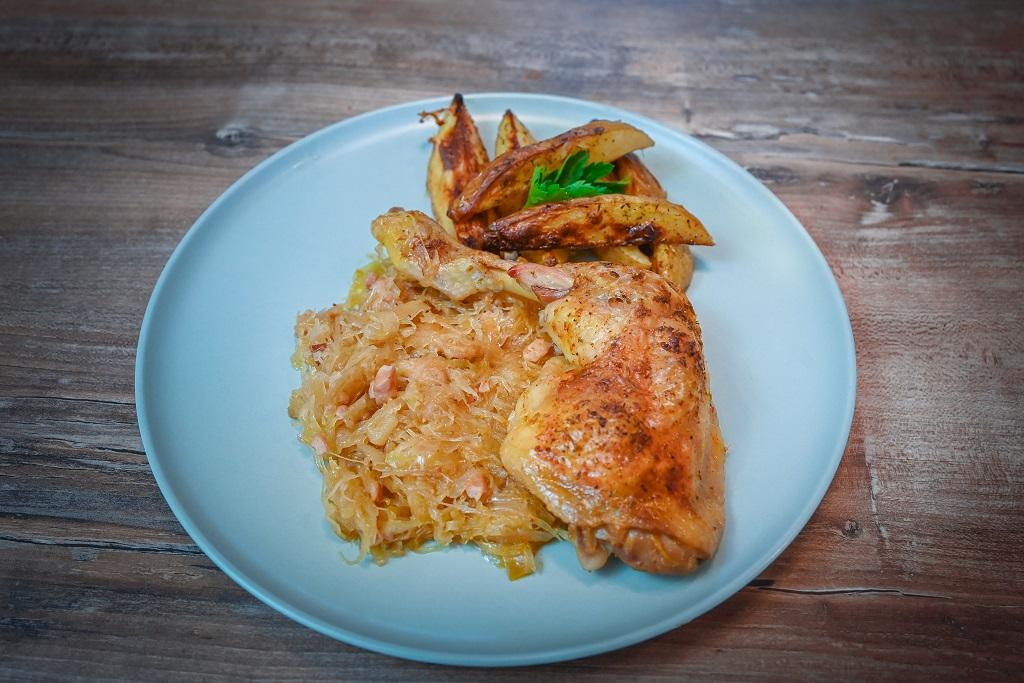 Sauerkraut baked chicken legs recipe.