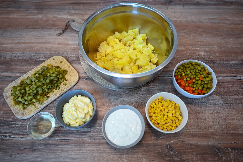 Ingredients needed for potato mayonnaise salad.