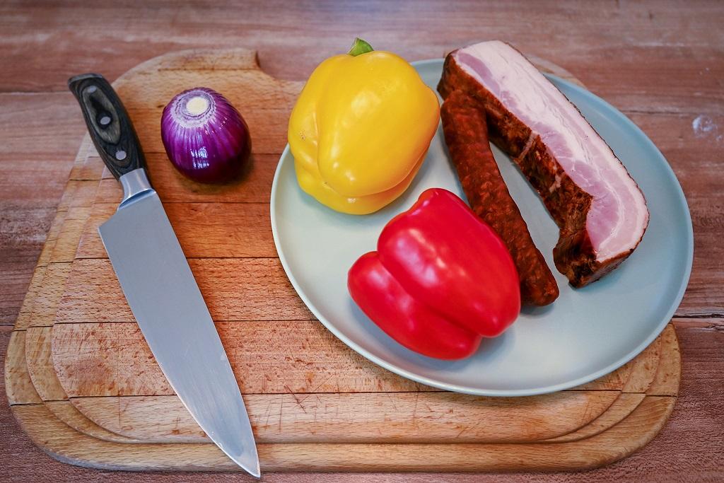 Vegetables and some bacon and kielbasa.