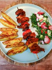 Easy Pork Skewers With Potatoes And Salad