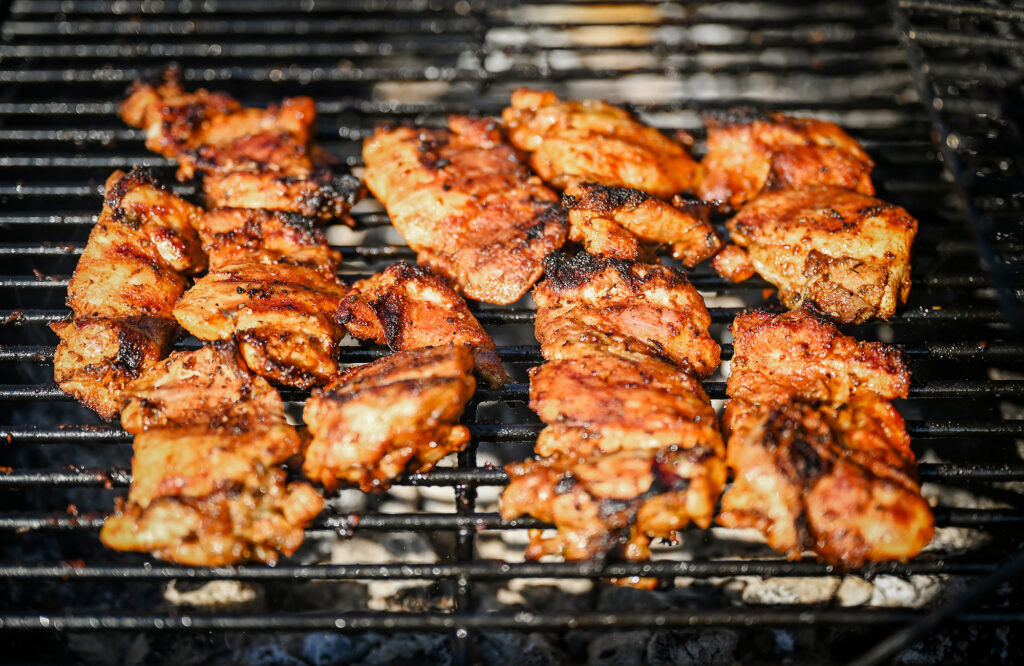 The thighs are grilled perfectly.