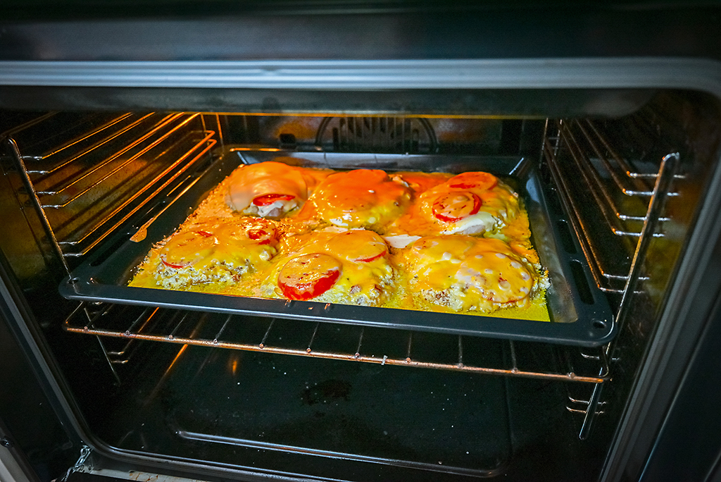 Broil the cheesy pork chops for 10-15 minutes.