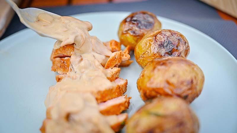 These pork tenderloin steaks taste the best with a lot of mushroom sauce.